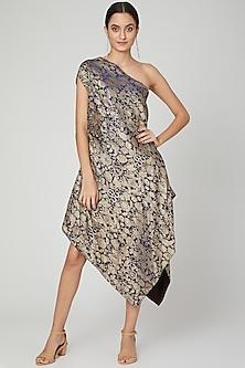 Cobalt Blue Asymmetric Embroidered Dress by Megha Garg