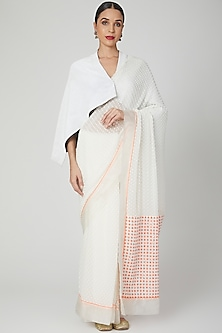 White Embroidered Saree With Cape by Megha Garg
