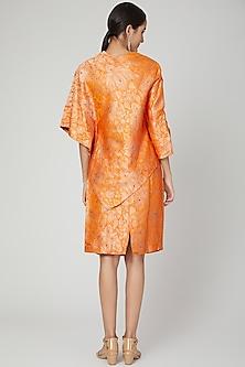 Orange Brocade Top With Skirt Dress by Megha Garg