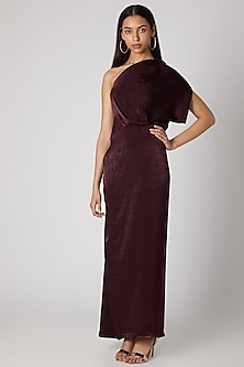 Wine Off Shoulder Draped Gown by Megha Garg
