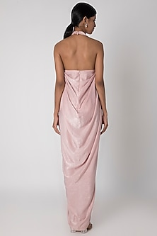 Baby Pink V-Neck Draped Gown by Megha Garg