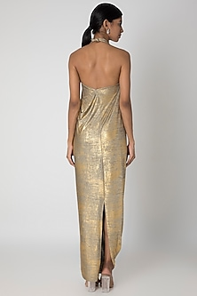 Gold Printed Knotted Gown by Megha Garg