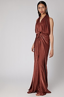 Rust Knotted Draped Gown by Megha Garg