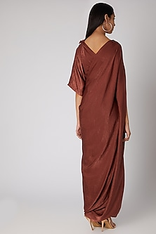 Rust Draped Gown With Cape Sleeves by Megha Garg