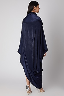 Navy Blue Draped Gown by Megha Garg