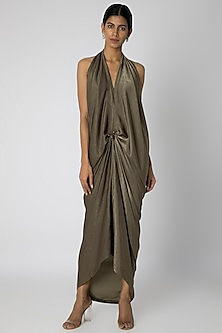Grey Draped Knotted Gown by Megha Garg
