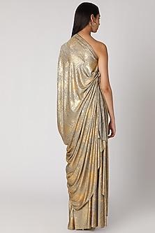Golden Draped Off Shoulder Gown by Megha Garg