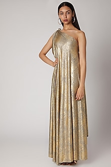 Golden Foil Printed Draped Gown by Megha Garg