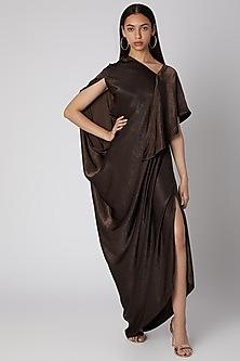 Deep Brown Draped Gown by Megha Garg