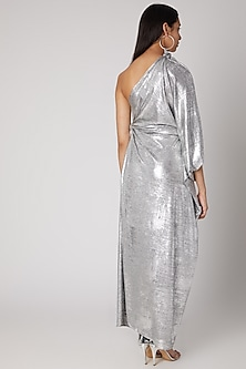 Silver Draped Knotted Gown by Megha Garg