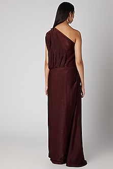 Wine Draped Off Shoulder Gown by Megha Garg