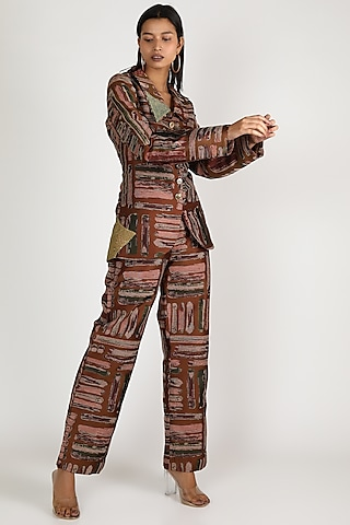 Brown Quilted Sequins Jacket Set by Megha Garg