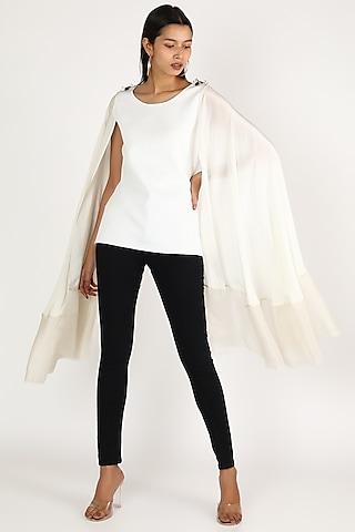 White Flared Sleeve Top by Megha Garg