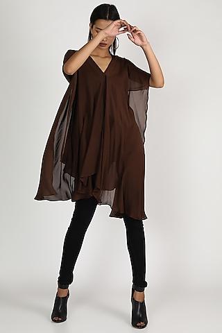 Brown Draped Kaftan Top by Megha Garg
