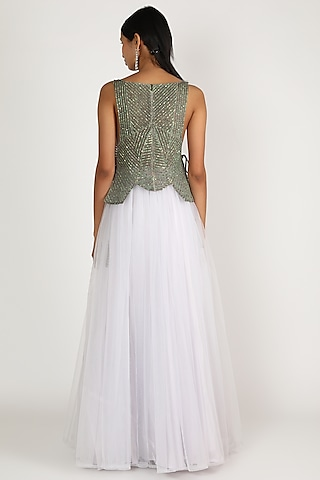 Grey Quilted Sequins Top by Megha Garg
