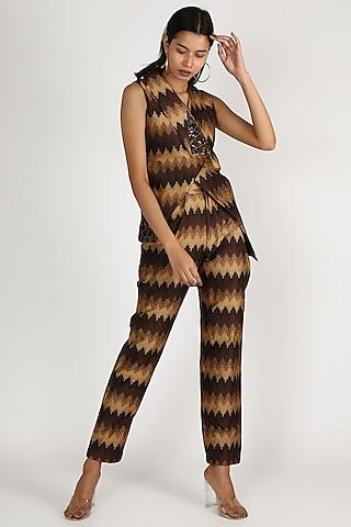 Brown Woven Sequins Jacket Set by Megha Garg