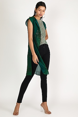Emerald Green Quilted Sequins Jacket by Megha Garg