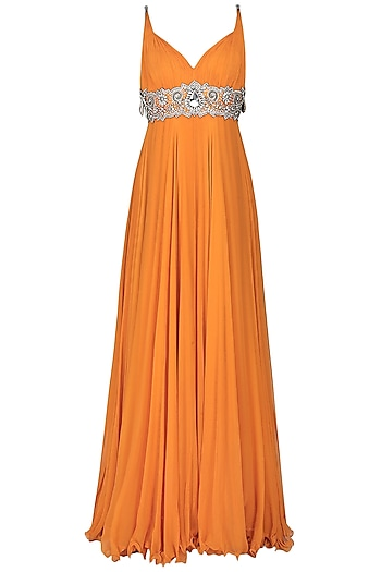 Orange Embroidered Empire Line Gown by Manav Gangwani