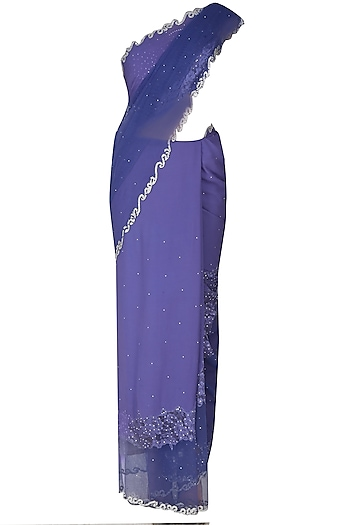 Ink Blue Asymmetric French Lace Cut Work Saree With Ink Blue Crystal Embellished Blouse by Manav Gangwani