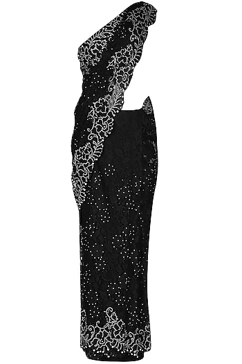 Black French Lace Saree With Black Swarovski Crystal Sequins Embellished Blouse
