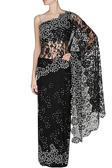 Black French Lace Saree With Black Swarovski Crystal Sequins Embellished Blouse by Manav Gangwani
