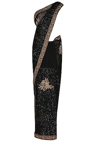 Black Antique Threadwork Embroidered Saree by Manav Gangwani