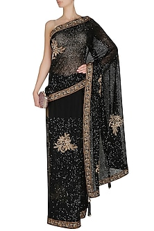 Black Antique Threadwork Embroidered Saree by Manav Gangwani