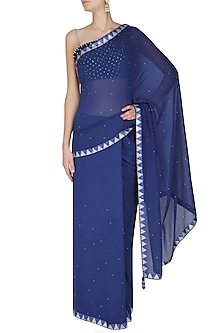 Royal Blue Geometric Crystal Border Saree by Manav Gangwani