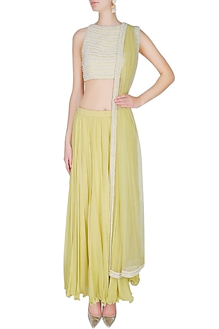 Lemon Yellow Pleated Skirt With Pearl Embellished Crop Top Blouse Set by Manav Gangwani