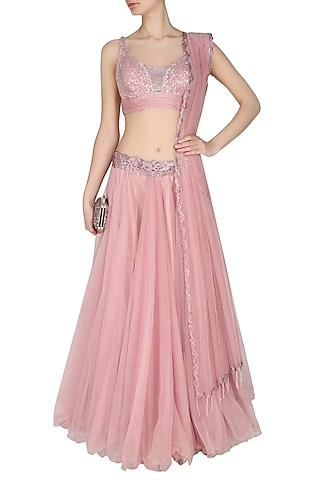 Onion Pink Flowy Layered Skirt With Onion Pink Crystal Embedded Blouse Set by Manav Gangwani