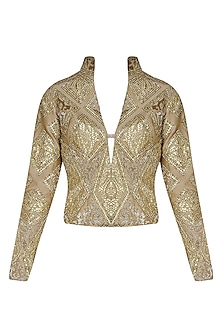 Gold Geometrical Gota Patti Embroidered Jacket by Manav Gangwani