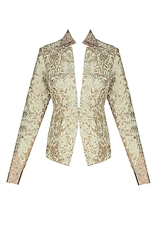 Gold Floral Threadwork Embroidered Jacket by Manav Gangwani