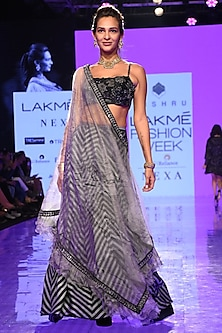 Charcoal Grey Embroidered Cape Lehenga Set by Mishru