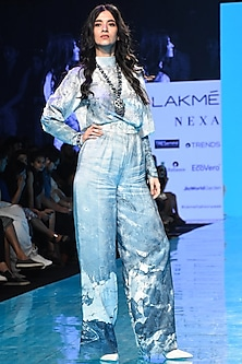 Blue Embroidered Top With Pants & Belt by Mishru