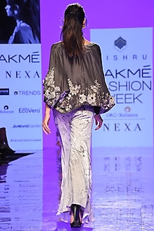 Charcoal Grey Embroidered Kimono & Pants Set by Mishru