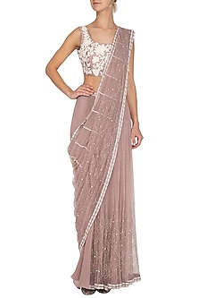 Mauve Embroidered Pant Saree Set by Mishru