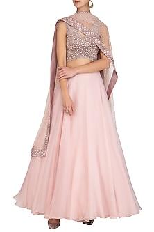 Blush Pink Thread Embroidered Lehenga Set by Mishru