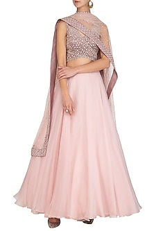 Blush Pink Thread Embroidered Lehenga Set by Mishru