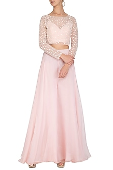 Blush Pink Embroidered Crop Top WIth Palazzo Pants by Mishru