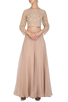 Beige Embroidered Crop Top With Palazzo Pants by Mishru