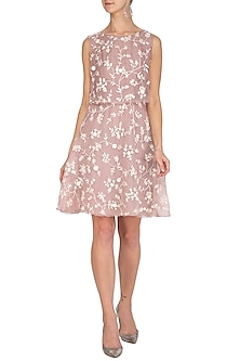 Muted Pink Embroidered Skater Dress by Mishru