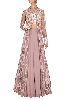 Mauve Embroidered Jacket Lehenga Set by Mishru