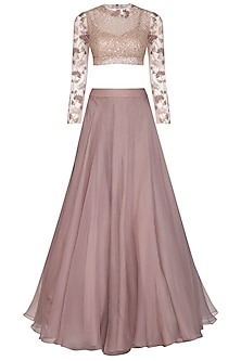 Mauve Embroidered Crop Top With Checkered Lehenga Skirt & Inner by Mishru