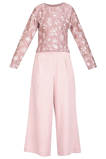 Mauve Embroidered Boxy Top With Blush Pink Culotte Pants by Mishru