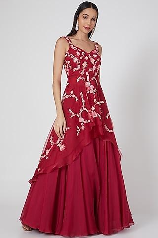 Hot Pink Embroidered Skirt Set by Mishru