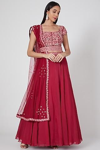 Maroonish Hot Pink Hand Embroidered Lehenga Set by Mishru