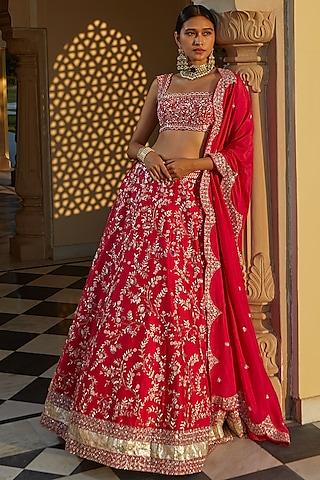 Pink Hand Embroidered Chintz Lehenga Set by Mishru
