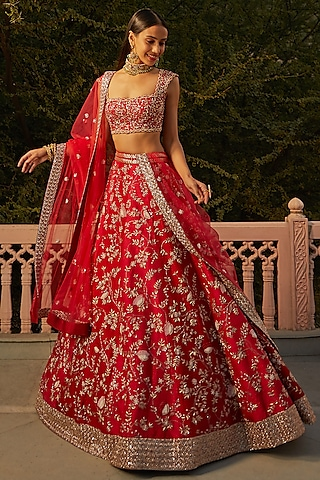 Red Sequins Hand Embroidered Chintz Lehenga Set by Mishru