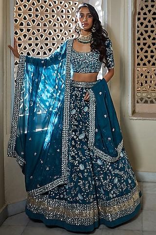 Teal Blue Hand Embroidered Lehenga Set by Mishru