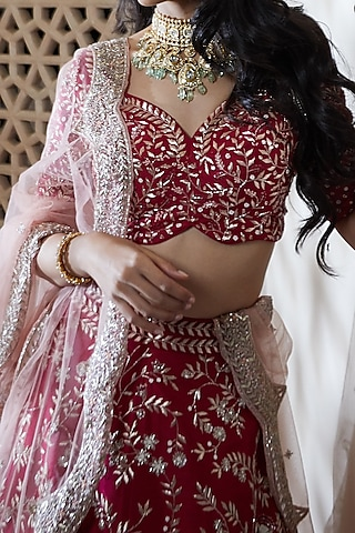 Hot Pink Hand Embroidered Chintz Lehenga Set by Mishru